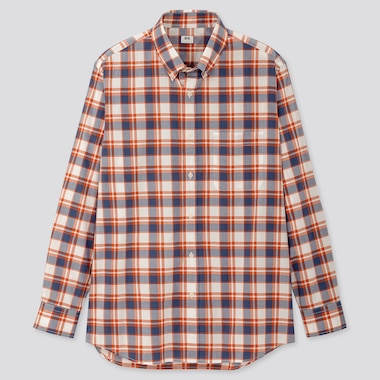 Men Extra Fine Cotton Broadcloth Long-Sleeve Shirt, Orange, Medium
