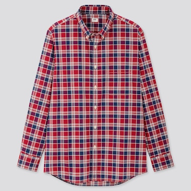 Men Extra Fine Cotton Broadcloth Long-Sleeve Shirt, Red, Medium