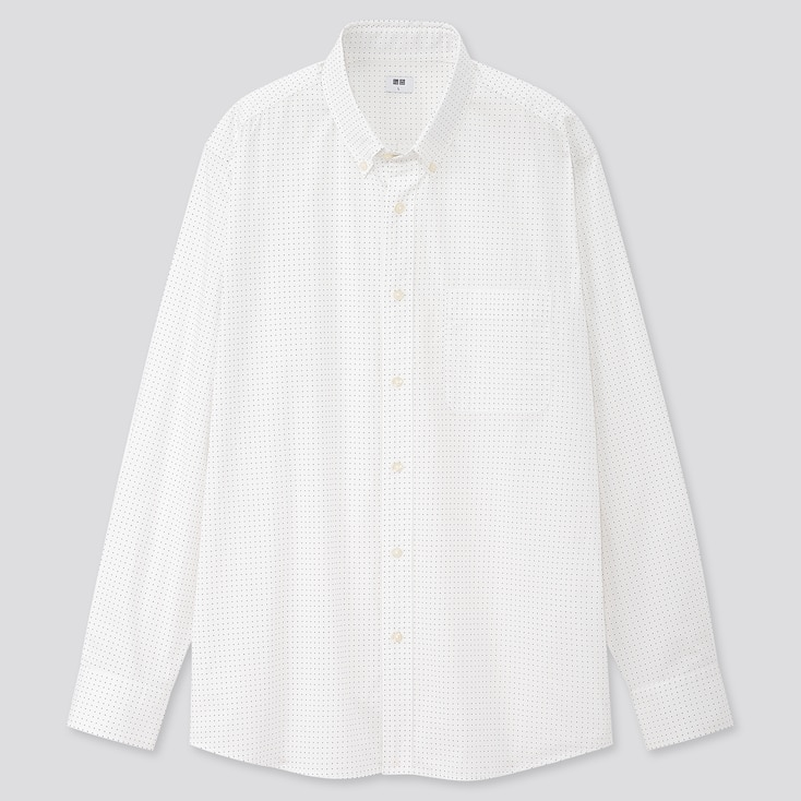 Men Extra Fine Cotton Broadcloth Long-Sleeve Shirt, Off White, Large