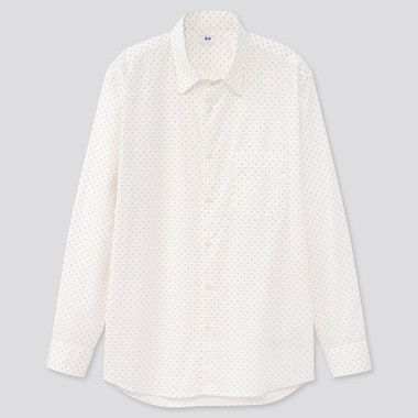 Men Extra Fine Cotton Broadcloth Long-Sleeve Shirt, White, Medium