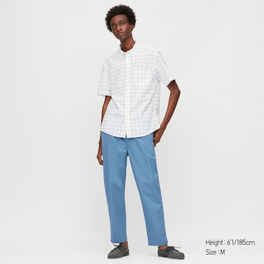 MEN DRY SEERSUCKER CHECKED SHORT SLEEVED SHIRT (BUTTON-DOWN COLLAR)