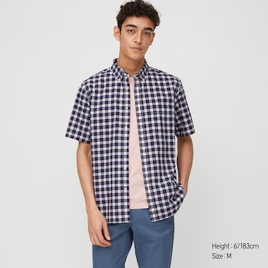 Men Extra Fine Cotton Broadcloth Regular Fit Checked Short Sleeved Shirt (Button-Down Collar)