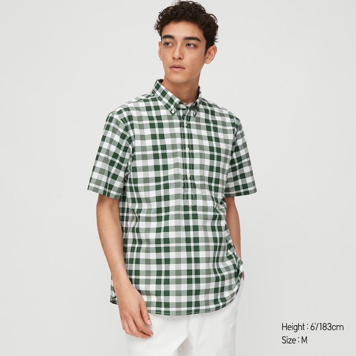 Men Extra Fine Cotton Pullover Broadcloth Short-Sleeve Shirt (Online Exclusive), Green, Large