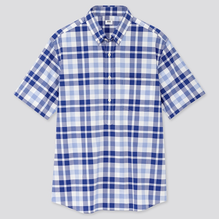 Men Extra Fine Cotton Pullover Broadcloth Short-Sleeve Shirt (Online Exclusive), Blue, Large