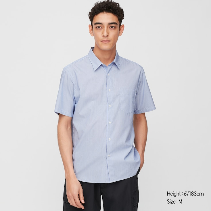 Men Extra Fine Cotton Broadcloth Short-Sleeve Shirt, Blue, Large