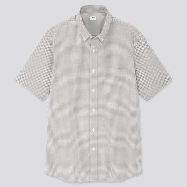 Men Extra Fine Cotton Broadcloth Short-Sleeve Shirt, Gray, Medium