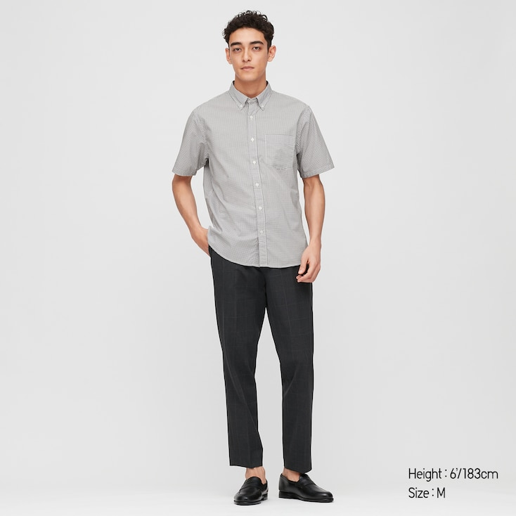 Men Extra Fine Cotton Broadcloth Short-Sleeve Shirt (Online Exclusive), Gray, Large
