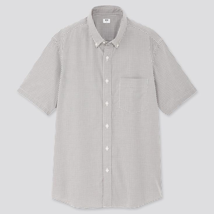 Men Extra Fine Cotton Broadcloth Short-Sleeve Shirt, Gray, Large