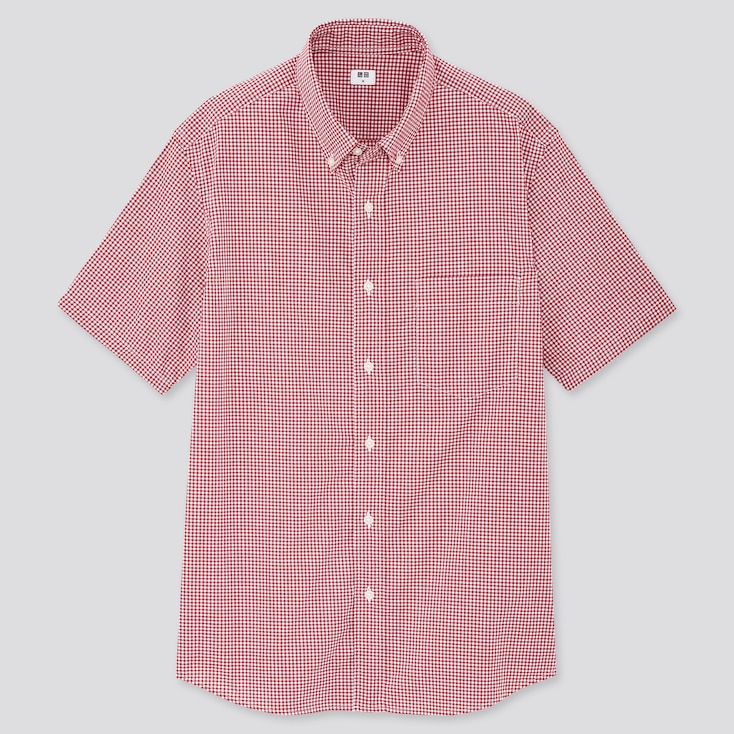 Men Extra Fine Cotton Broadcloth Short-Sleeve Shirt, Red, Large