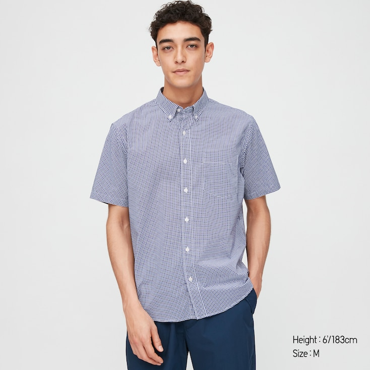Men Extra Fine Cotton Broadcloth Short-Sleeve Shirt (Online Exclusive), Navy, Large