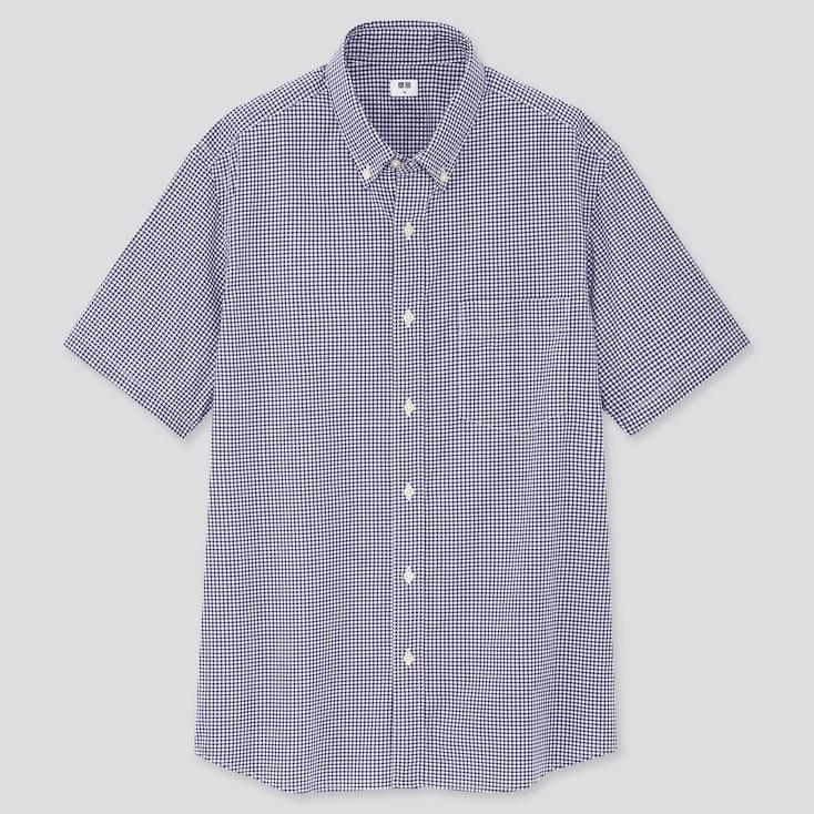Men Extra Fine Cotton Broadcloth Short-Sleeve Shirt, Navy, Large