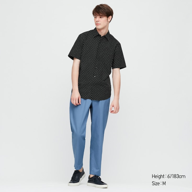 Men Extra Fine Cotton Short-Sleeve Shirt (Online Exclusive), Black, Large