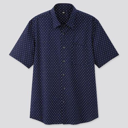 Men Extra Fine Cotton Broadcloth Regular Fit Printed Short Sleeved Shirt (Regular Collar)