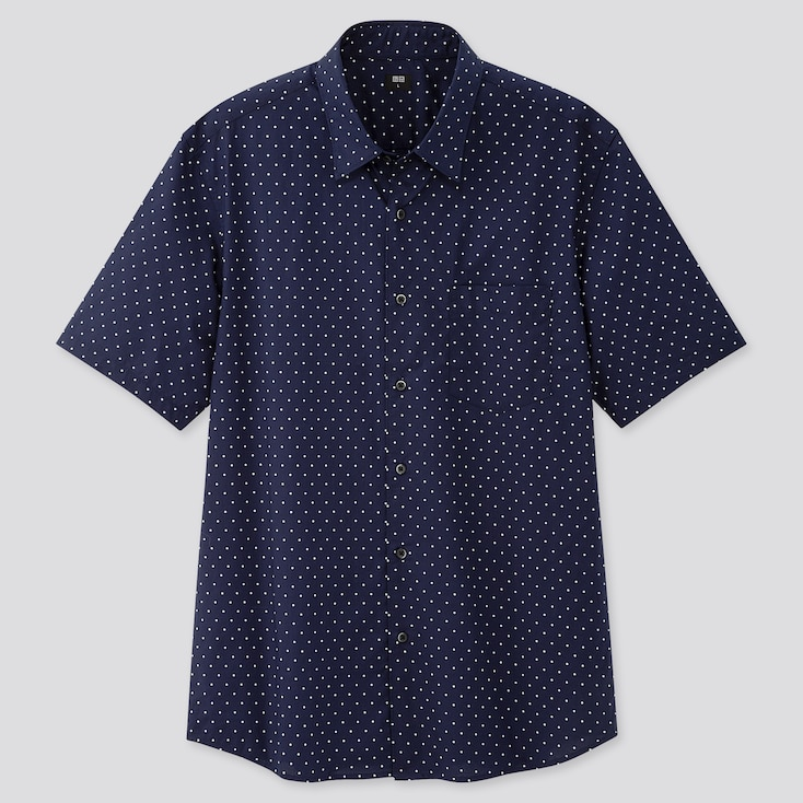 Men Extra Fine Cotton Short-Sleeve Shirt (Online Exclusive), Navy, Large