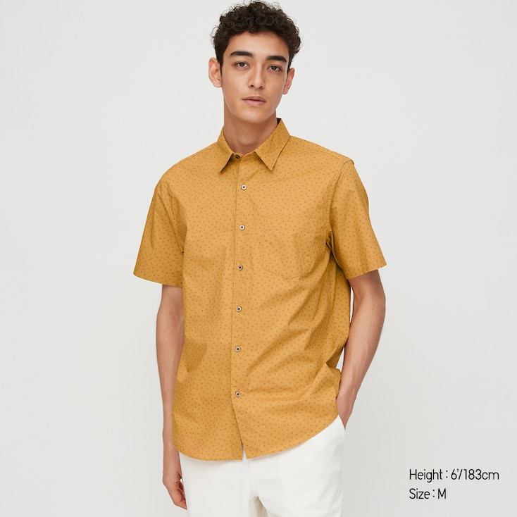 Men Extra Fine Cotton Short-Sleeve Shirt, Yellow, Large