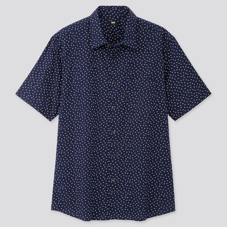 Men Extra Fine Cotton Short-Sleeve Shirt (Online Exclusive), Navy, Large