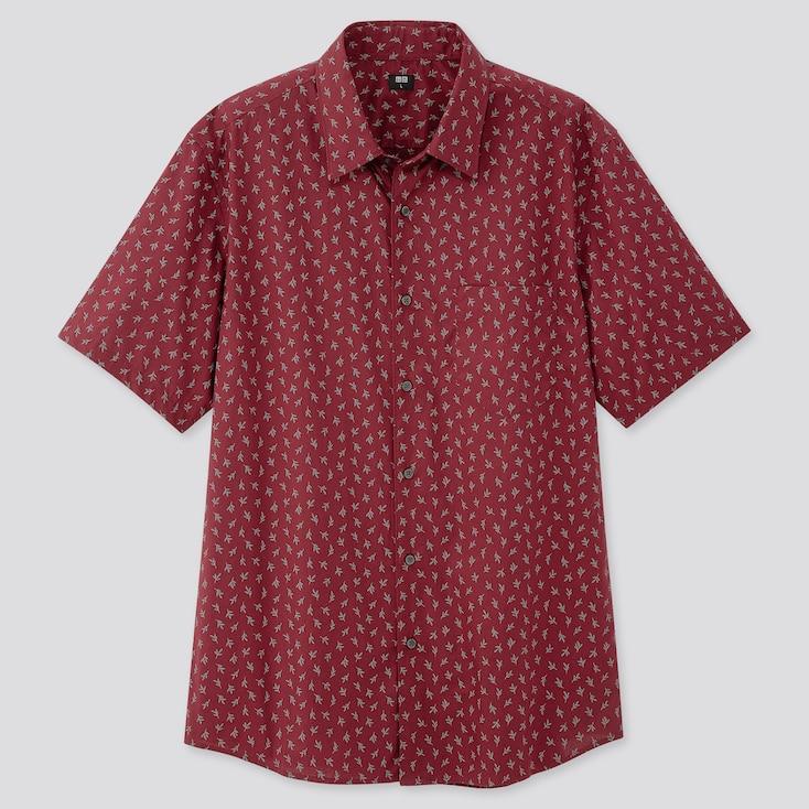 Men Extra Fine Cotton Short-Sleeve Shirt (Online Exclusive), Wine, Large
