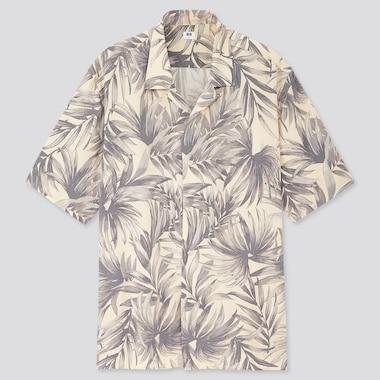 Men Rayon Printed Open Collar Short-Sleeve Shirt (Online Exclusive), Natural, Medium