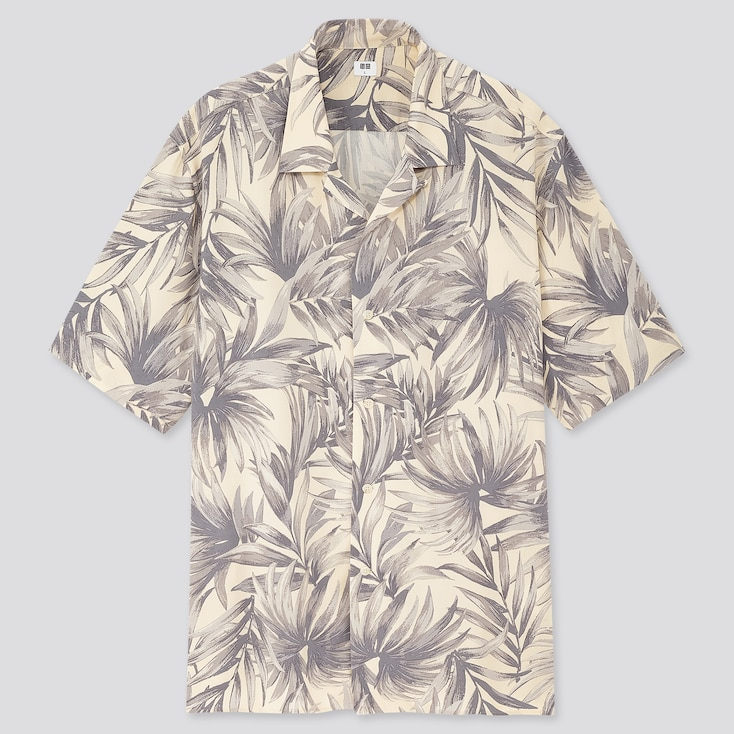 Men Rayon Printed Open Collar Short-Sleeve Shirt (Online Exclusive), Natural, Large