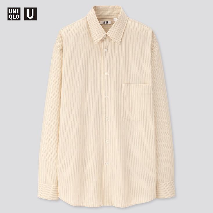 Men U Striped Regular Collar Long-Sleeve Shirt, Beige, Large