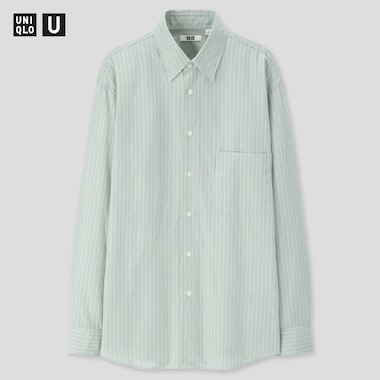 Men U Striped Regular Collar Long-Sleeve Shirt, Green, Medium