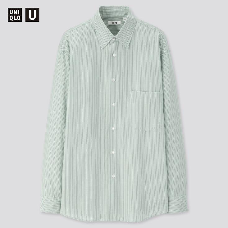 Men U Striped Regular Collar Long-Sleeve Shirt, Green, Large