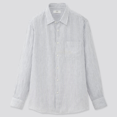 Men Premium Linen Striped Long-Sleeve Shirt, White, Medium
