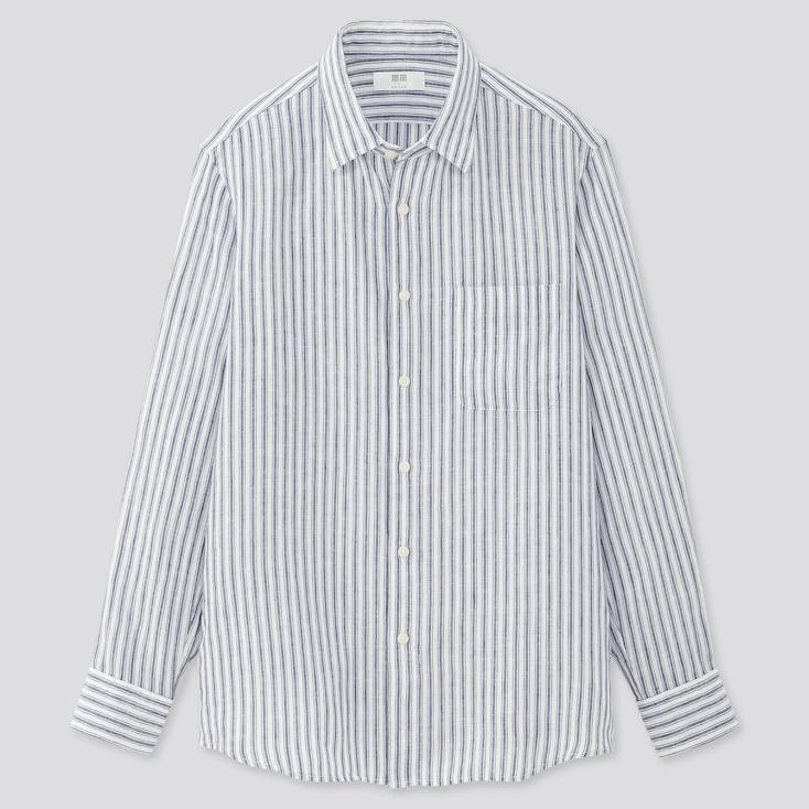 Men Premium Linen Striped Long-Sleeve Shirt, Navy, Large