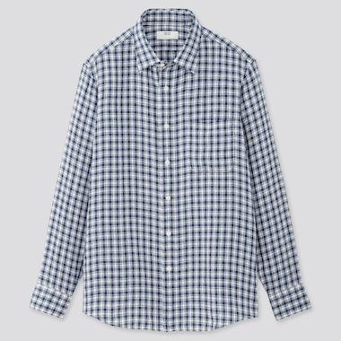 Men Premium Linen Checked Long-Sleeve Shirt, Blue, Medium