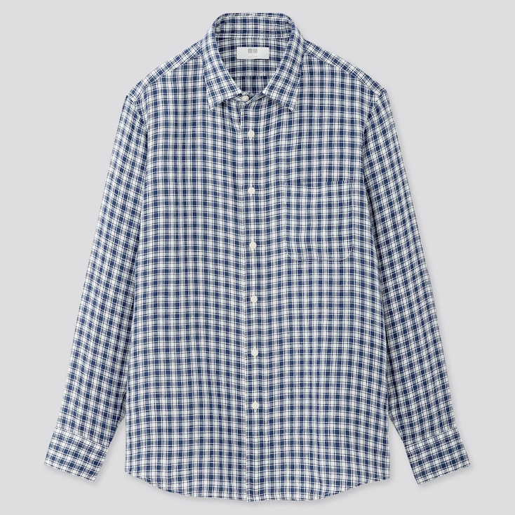 Men Premium Linen Checked Long-Sleeve Shirt, Blue, Large