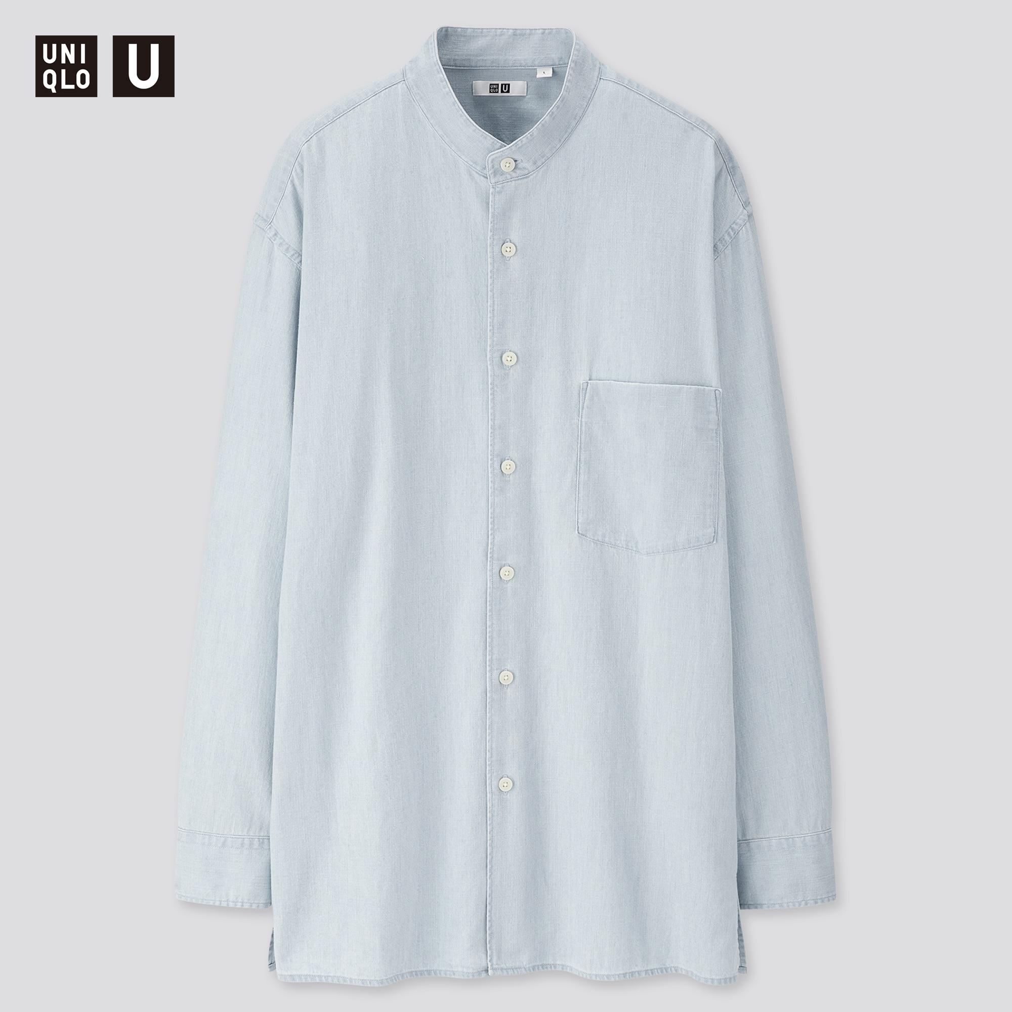 Uniqlo men u denim stand collar long-sleeve shirt