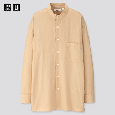 Men U Striped Stand Collar Long-Sleeve Shirt, Beige, Medium