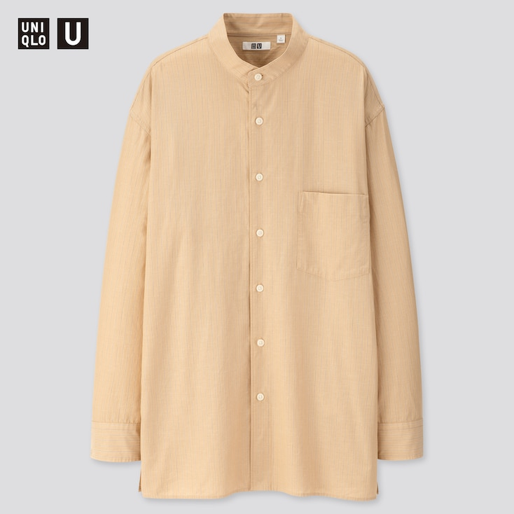 Men U Striped Stand Collar Long-Sleeve Shirt, Beige, Large