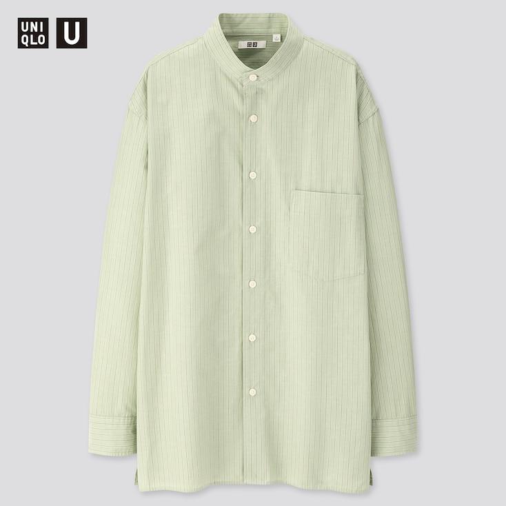 Men U Striped Stand Collar Long-Sleeve Shirt, Green, Large