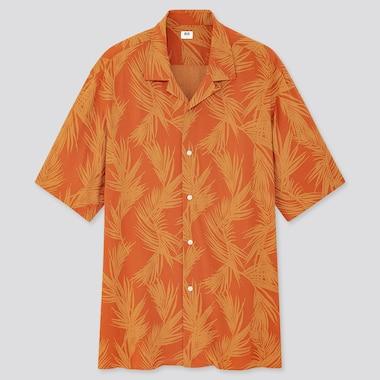 Men Rayon Printed Open Collar Short-Sleeve Shirt, Orange, Medium