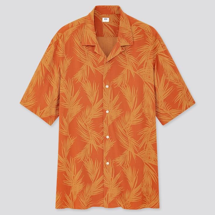 Men Rayon Printed Open Collar Short-Sleeve Shirt, Orange, Large