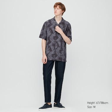 Men Rayon Printed Regular Fit Short Sleeved Shirt (Open Collar)