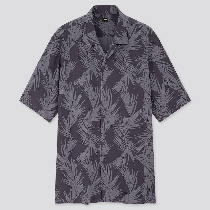 Men Rayon Printed Open Collar Short-Sleeve Shirt, Navy, Large