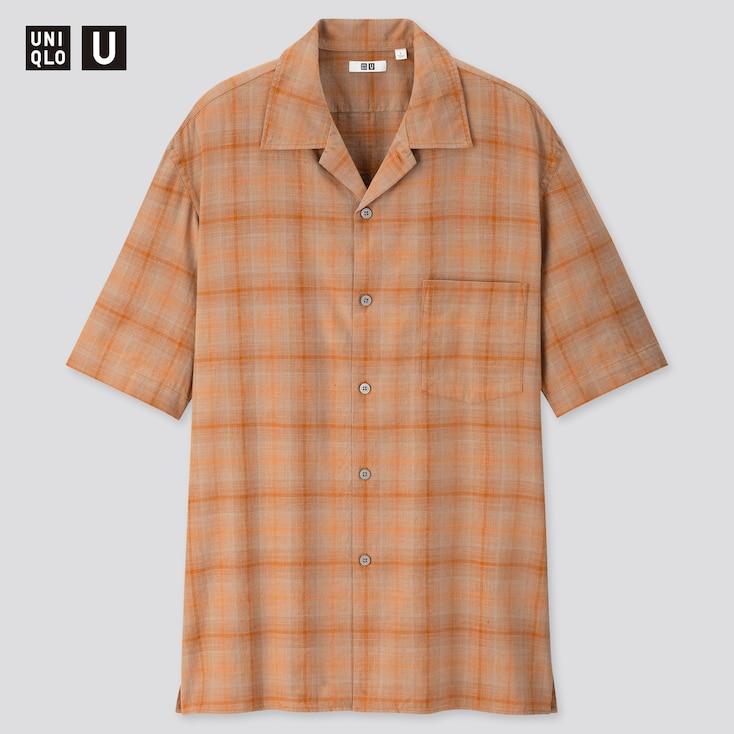 Men U Linen Cotton Short-Sleeve Shirt, Brown, Large