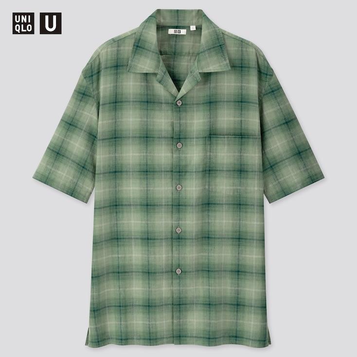 Men U Linen Cotton Short-Sleeve Shirt, Green, Large
