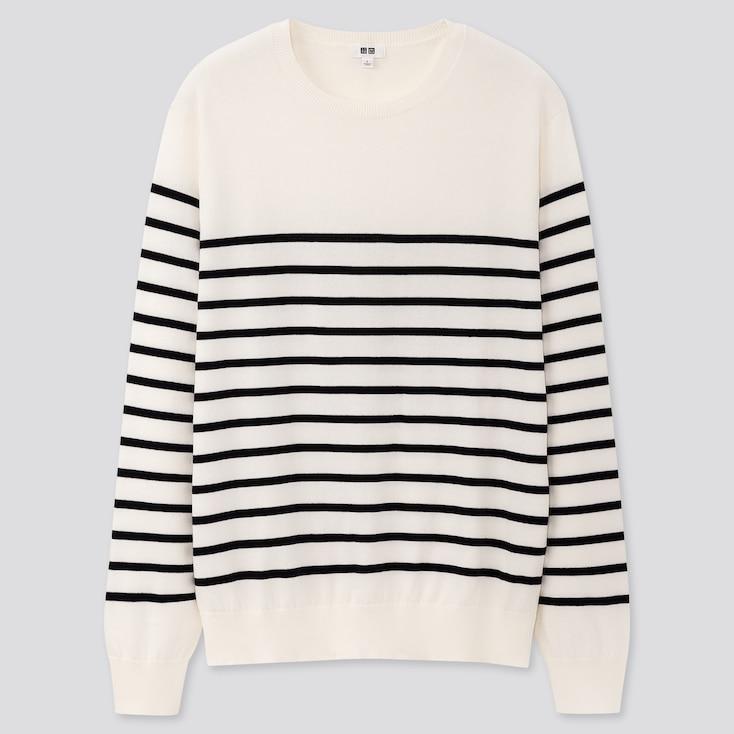 Men Supima® Cotton Crew Neck Long-Sleeve Sweater, Off White, Large