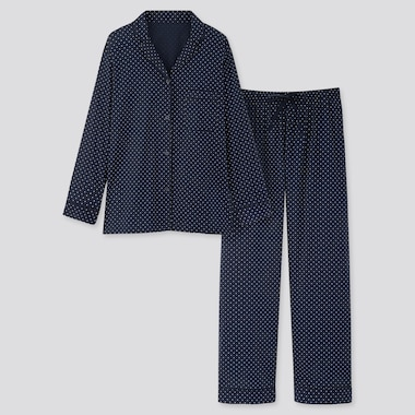 Women Soft Stretch Long-Sleeve Pajamas (Online Exclusive), Navy, Medium