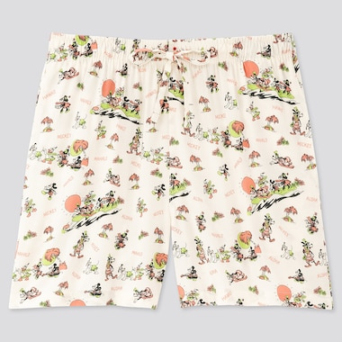 Women Mickey Aloha Relaco Shorts, Off White, Medium