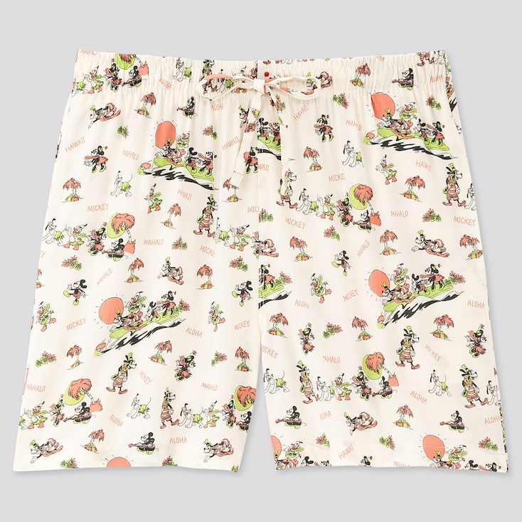 Women Mickey Aloha Relaco Shorts, Off White, Large