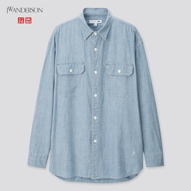 Men Chambray Long-Sleeve Shirt (Jw Anderson), Blue, Medium