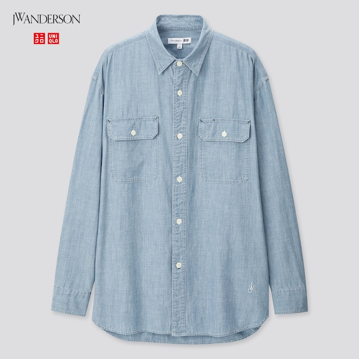 Men Chambray Long-Sleeve Shirt (Jw Anderson), Blue, Large