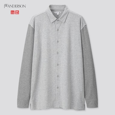 Men Wash Jersey Long-Sleeve Shirt (Jw Anderson), Gray, Medium
