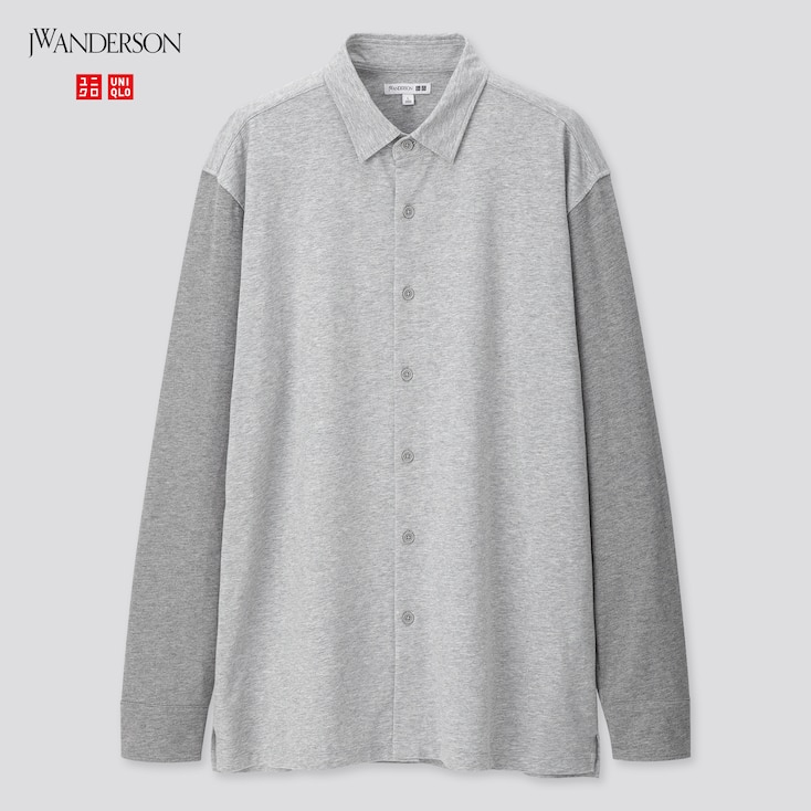 Men Wash Jersey Long-Sleeve Shirt (Jw Anderson), Gray, Large