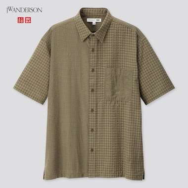 Men Seersucker Checkeded Short-Sleeve Shirt (Jw Anderson), Olive, Medium