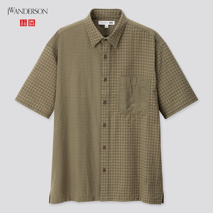 Men Seersucker Checked Short-Sleeve Shirt (Jw Anderson), Olive, Large